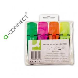 Rotulador Q-connect fluorescente estuche de 4 colores