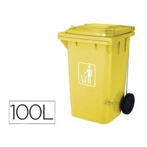 Papelera contenedor Q-connect 100L amarillo