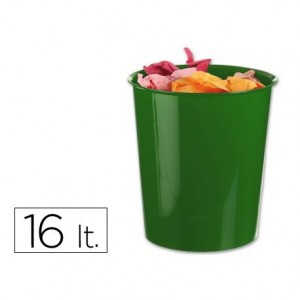 Papelera plástico Q-Connect verde opaco 16 litros