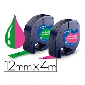 Cinta Letratag Dymo 12mm x 4m 2 unidades rosa neon y verde neon