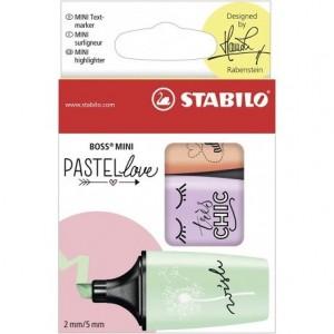 Rotulador Stabilo Boss Mini Pastellove Estuche 3 Unidades Melocoton brisa violeta menta
