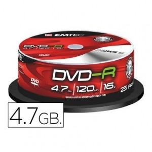 DVD-R Emtec 4,7GB 120min velocidad 16X Tarrina 25 unidades