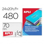 Etiquetas Apli adhesivas 1224 transparentes 70x37 mm caja 20 hojas con 480