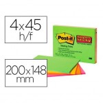 Post-It ® Bloc de Notas Quita y Pon Super Sticky 200x149 mm Neón XXL