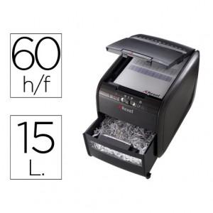 Destructora documentos Rexel auto+60x (2103060EU). Capacidad 60 hojas. Destruye grapas+tarjetas de crédito.