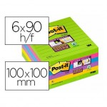 Post it ® Bloc de notas adhesivas Super sticky quita y pon 100x100 mm varios colores Pack de 6 unidades