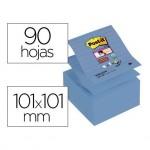 Post-it Bloc de notas adhesivas super sticky 101 x 101 mm 90 hojas pack 5 blocs Z-notes azul